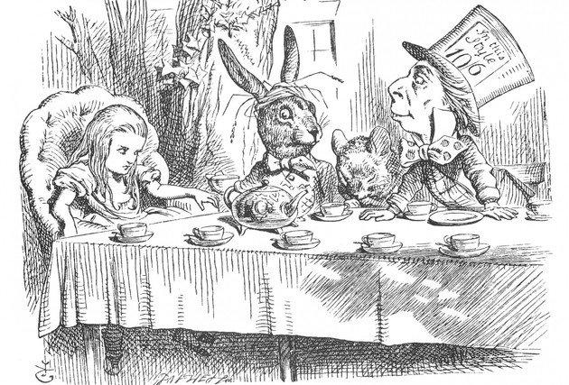Alice tomando cha com Chapeleiro e Lebre, ilustração de John Tenniel.