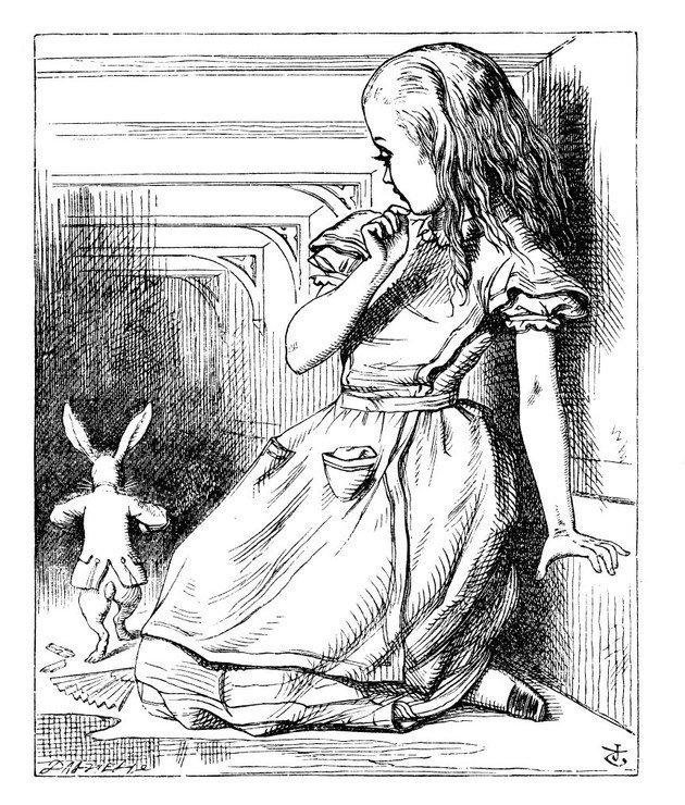 Ilustração de John Tenniel com Alice seguindo o Coelho.
