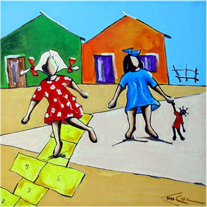 meninas brincando de amarelinha e boneca, obra de Ivan Cruz