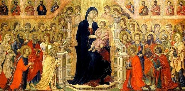pintura medieval exibindo menino jesus sentado no colo de Maria ao redor de muitas pessoas