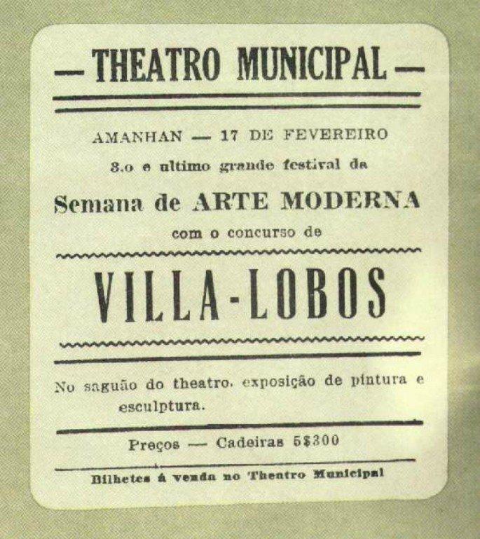 Cartaz da última noite da Semana de Arte Moderna (17 de fevereiro de 1922).