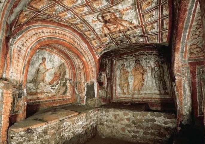arte paleocristã exibe pinturas nas paredes de catacumba