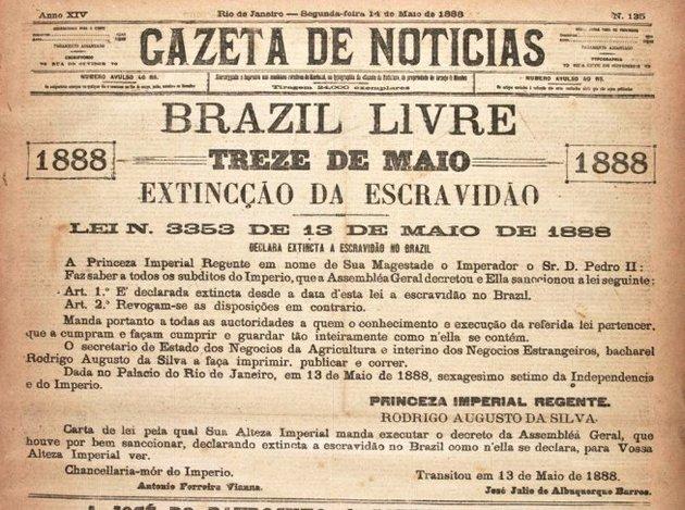 Capa do jornal anunciando a abolição da escravatura.