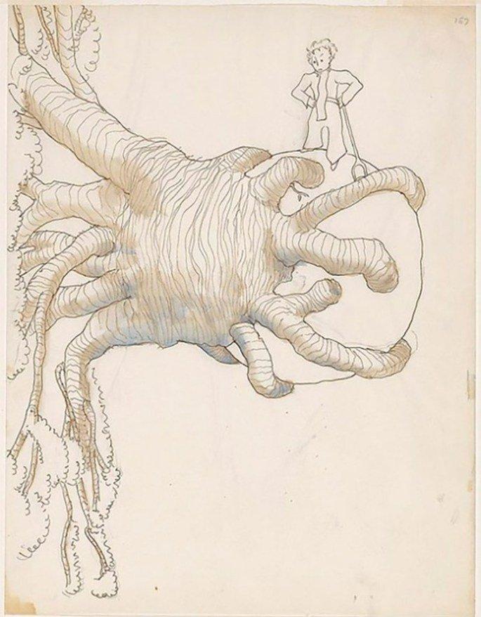 ilustração de O pequeno príncipe com grande árvore