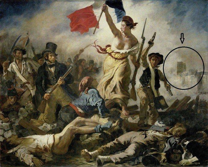 Quadro A liberdade guiando o povo com as torres de Notre Dame em destaque