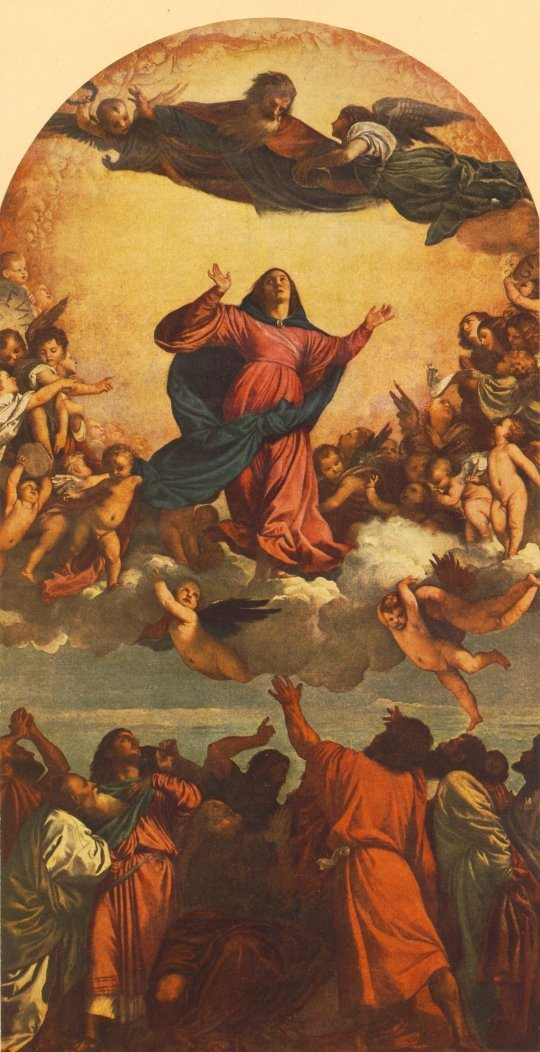 A assunção da Virgem, de Ticiano, mostra Maria subindo aos céus com apóstolos embaixo.