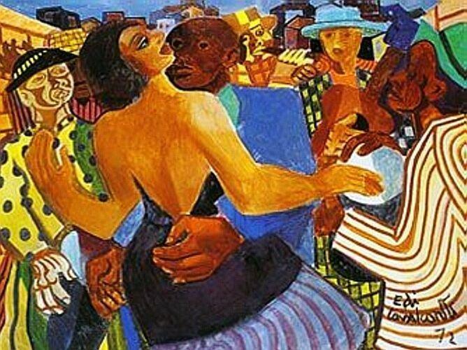 quadro Baile Popular, de Di Cavalcanti com pessoas dançando em cena colorida