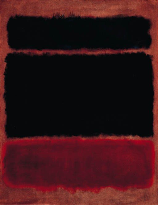 Black in Deep Red Pintura de Mark Rothko