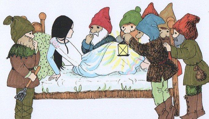 Branca de neve dormindo e os sete anões ao redor