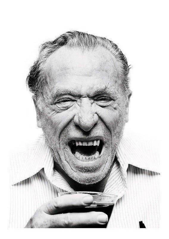 Retrato a preto e branco de Bukowski