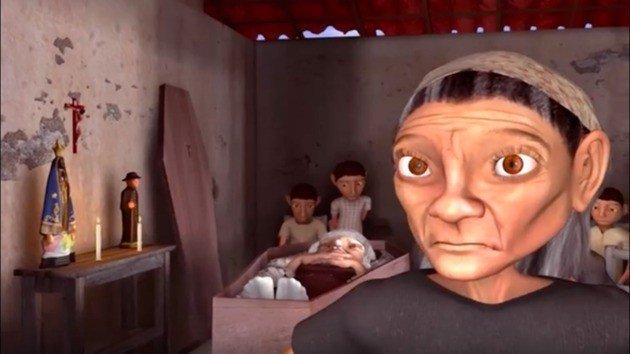 Maria José velando o corpo da mãe. Apesar da morte, a mãe permanece de certa forma viva porque Maria José reproduz com a filha a mesma atitude que aprendeu quando era criança.