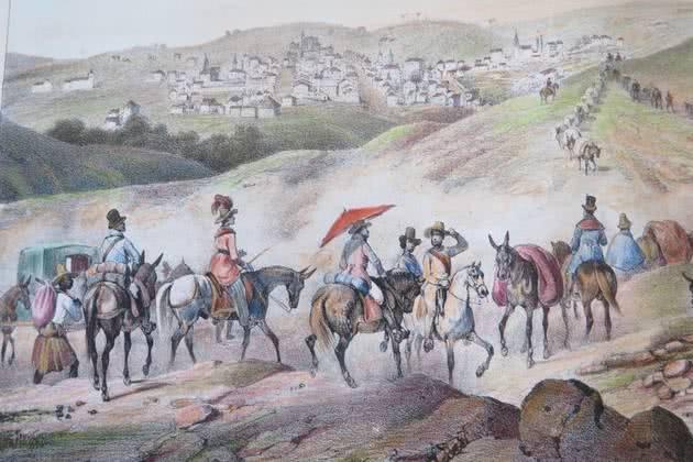 Quadro de Johann Moritz Rugendas mostrando uma caravana de mercante indo para a Tijuca