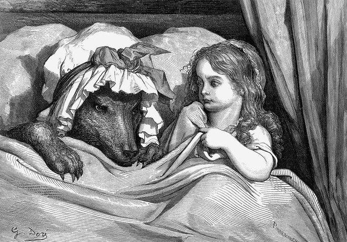 ilustração de Chapeuzinho deitada na cama com o lobo vestido de vovozinha