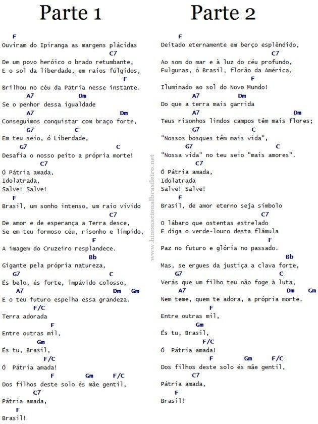 cifra hino nacional brasileiro