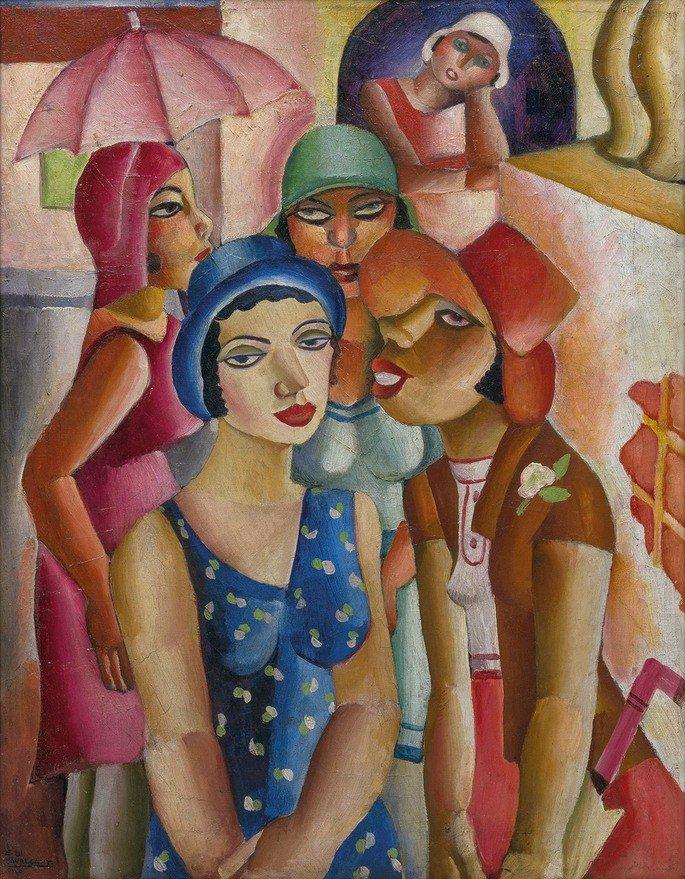 Quadro Cinco moças de Guaratinguetá (1930), de Di Cavalcanti com moças de chapéus em cores vibrantes