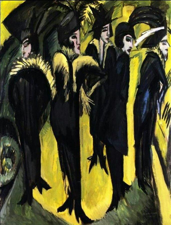 quadro Cinco mulheres na rua, de Kirchner