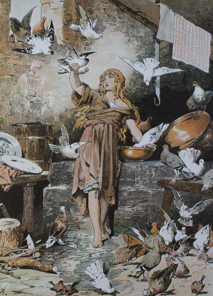 Cinderela com as pombas, ilustração de Alexander Zick (1845 - 1907)