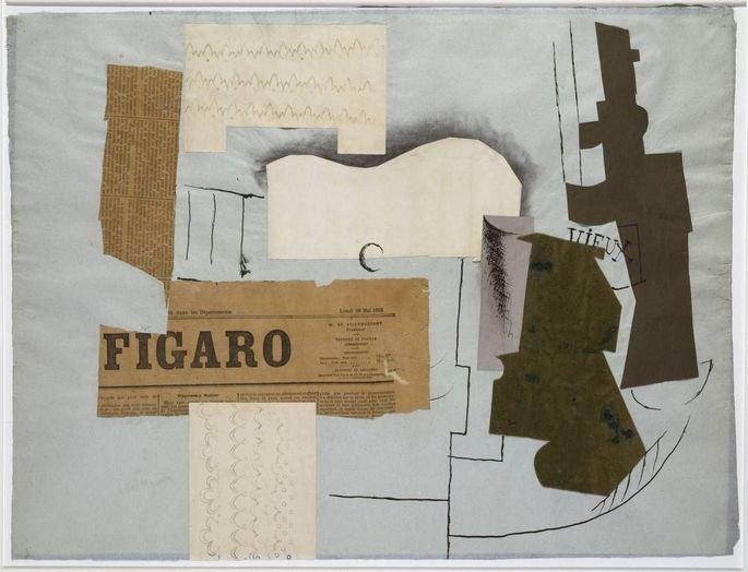 colagem cubista de Picasso exibindo recortes de jornal e desenho de garrafa
