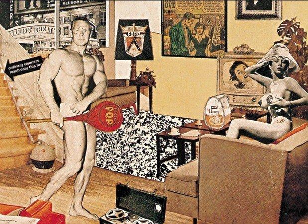 colagem de pop art de Richard Hamilton retratando uma casa, um homem e uma mulher semi nus e objetos do cotidiano
