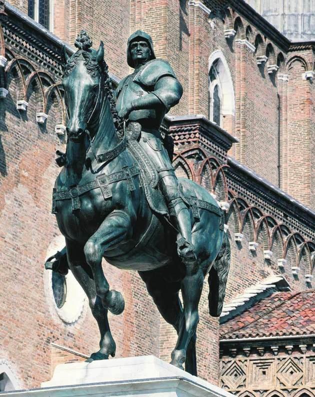 Estátua Equestre de Bartolomeo Colleoni - bronze, 3,96 m. (sem pedestal), 1483-88 - Andrea del Verrocchio, Campo S.S. Giovanni e Paolo, Veneza