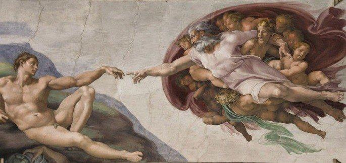 a criação de Adão exibe figura de Deus dando vida a Adão