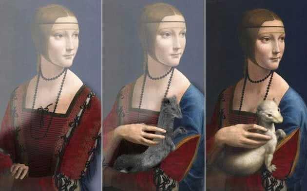 Diferentes versões da Dama com Arminho