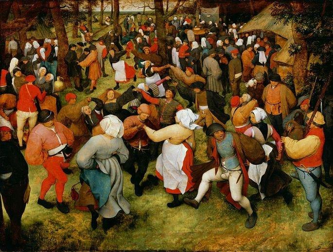 quadro representando dança grupal de camponeses na Idade Média