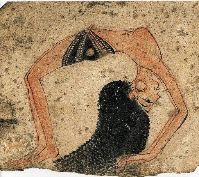 pintura egípcia exibindo mulher em posição acrobática