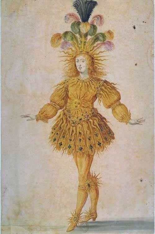 representação do rei Luis XIV trajando roupa de sol