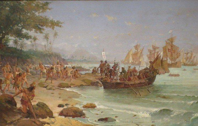Pero Vaz de Caminha narra detalhadamente o encontro do português com o nativo.