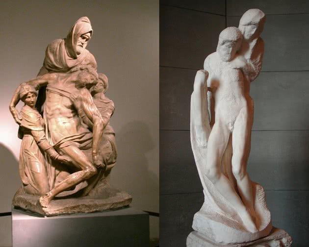 Pietà - 226 cm, Museu dell'Opera del Duomo, Florença | Pietà Rondanini, 195 cm, Castello Sforzesco, Milão