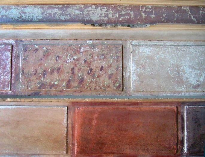 detalhe de pintura romana imitando tijolos de mármore