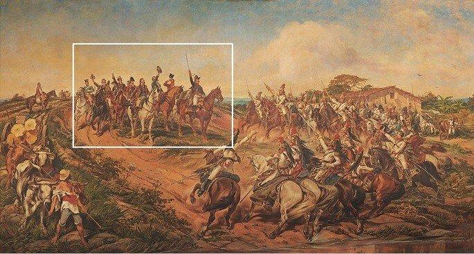 quadro O grito do Ipiranga com detalhe de Dom Pedro I