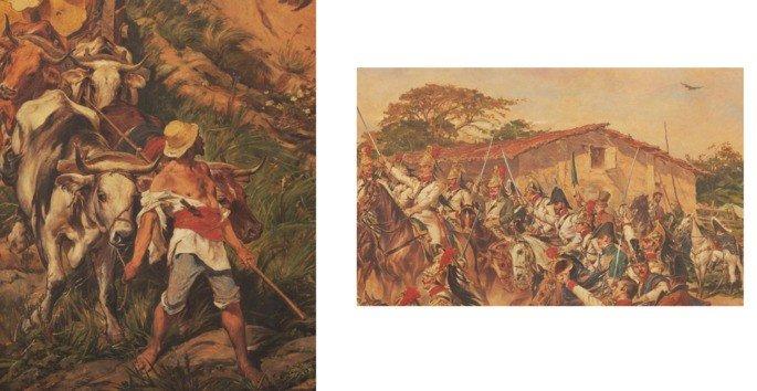 detalhes de O grito do Ipiranga mostrando homem e carro boi e casa simples
