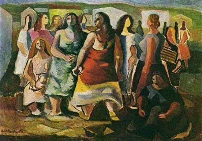 Quadro Mulheres Protestando, Di Cavalcanti, exibe grupo de mulheres em paisagem do campo