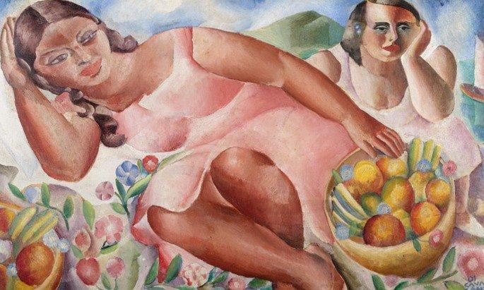 Quadro Mulheres com frutas, de Di Cavalcanti exibe mulheres deitadas com frutas ao redor em tons de rosa