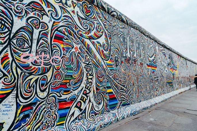 East Side Gallery, em Berlim.
