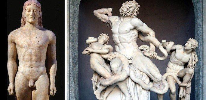 esculturas gregas exibindo figura de homem em pé e outra 3 homens enrolados em serpentes