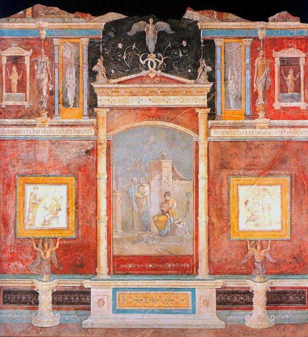 pintura romana exibindo mural com janelas e paisagens