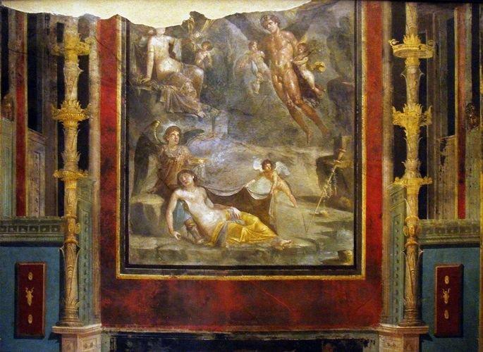 pintura romana no estilo intricado exibe painel com paisagens