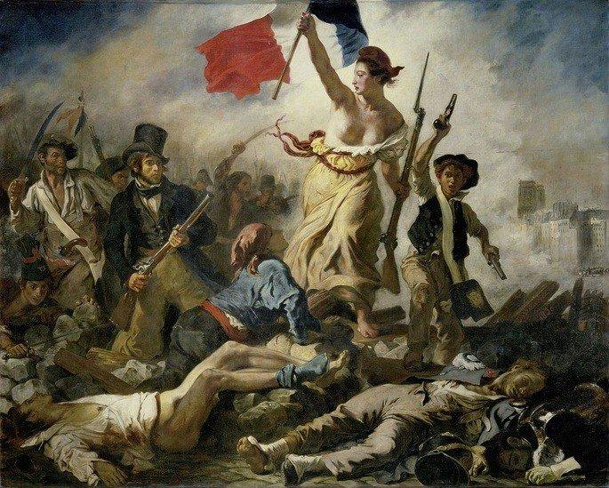 quadro A liberdade guiando o povo, de Delacroix, retrata cena de batalha com mulher segurando bandeira da França