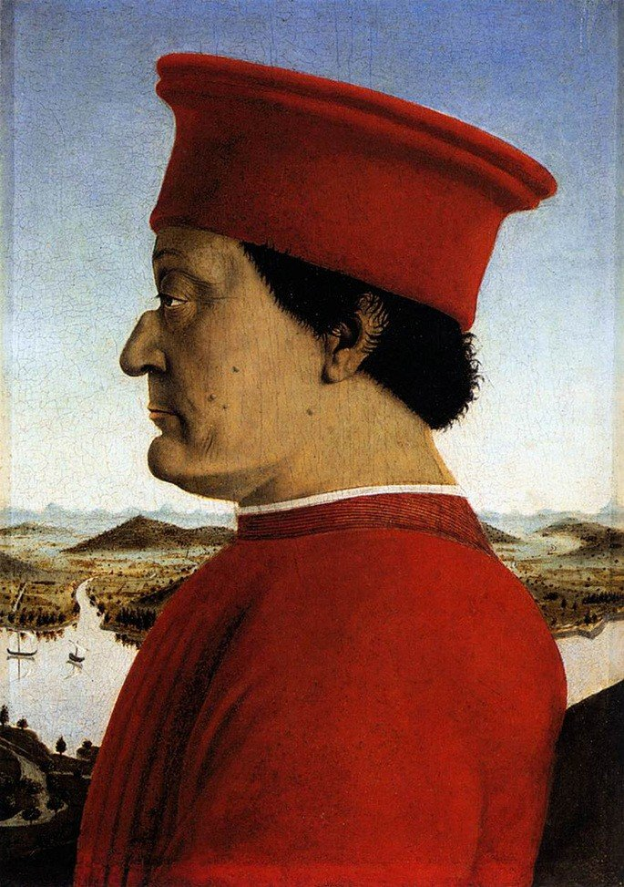 retrato de homem de perfil e chapéu vermelho, de Piero della Francesca