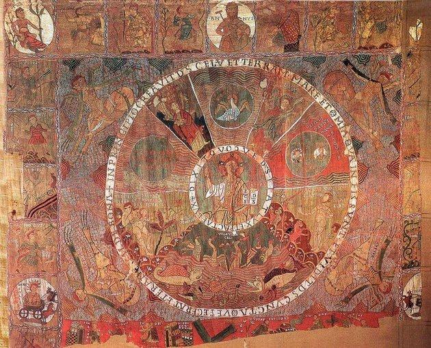 Tapeçaria de Girona, produzida entre o fim do séc. XI e início do séc. XII, que serviu de inspiração para o quadro Os sete pecados capitais, de Bosch.