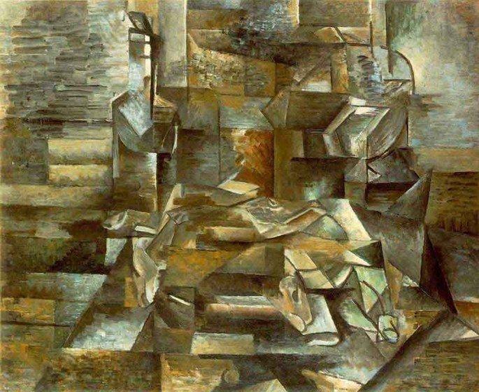 quadro cubista de Braque em tons de marrom e ocre exibindo garrafa e peixes