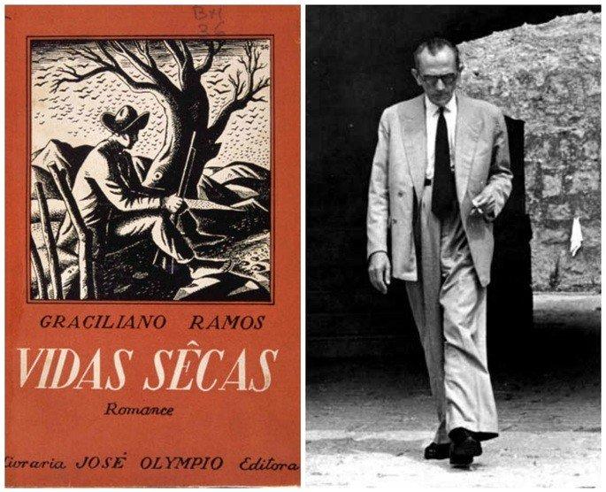 Capa do livro Vidas Secas e retrato do seu autor, Graciliano Ramos.