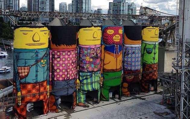 Grafite enorme feito pelos gêmeos no Canadá.