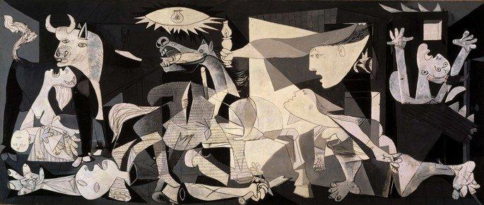 quadro Guernica, de Picasso, exibe figuras em preto e branco em cena de guerra