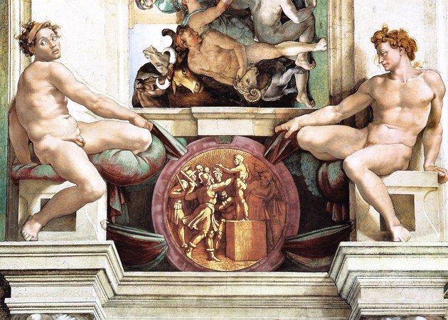 Afresco na Capela Sistina representando figuras masculinas nuas
