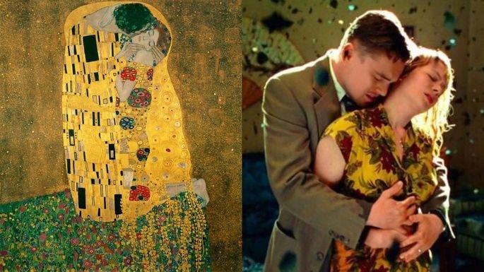 cena de Ilha do medo e a tela O beijo, de Klimt