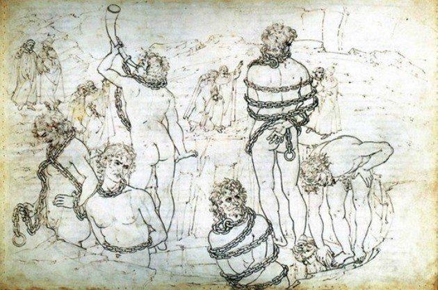 Ilustração de Sandro Botticelli para o Inferno.